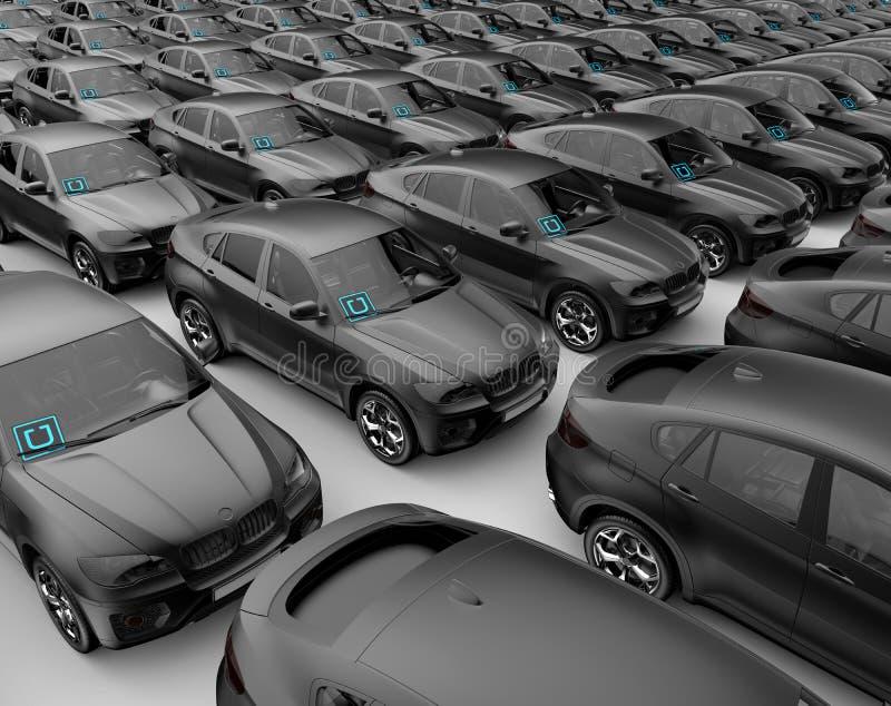 Carro dos carros de Uber pronto para expandir o negócio fotografia de stock