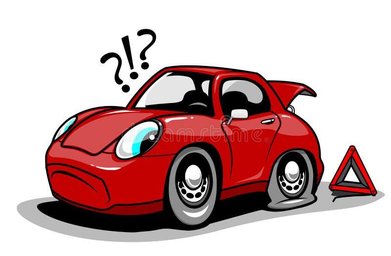 Carro dos desenhos animados com um pneu liso ilustração royalty free
