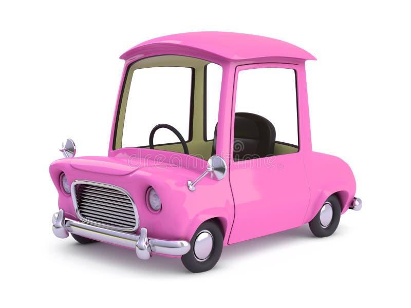 carro dos desenhos animados do rosa 3d ilustração do vetor