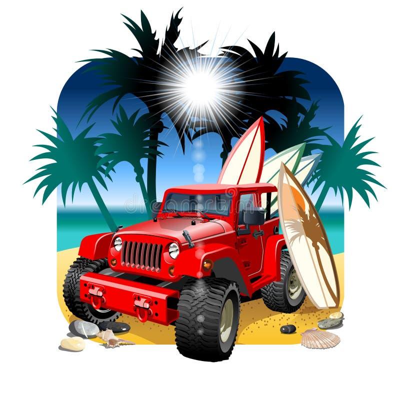 Carro dos desenhos animados 4x4 do vetor na praia ilustração stock