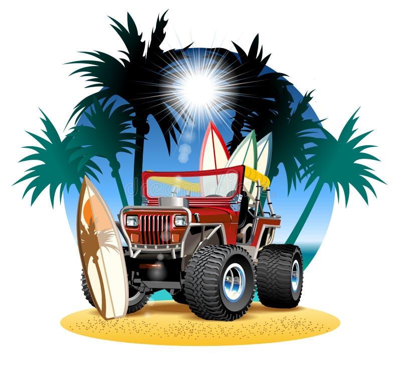 Carro dos desenhos animados 4x4 do vetor na praia ilustração do vetor
