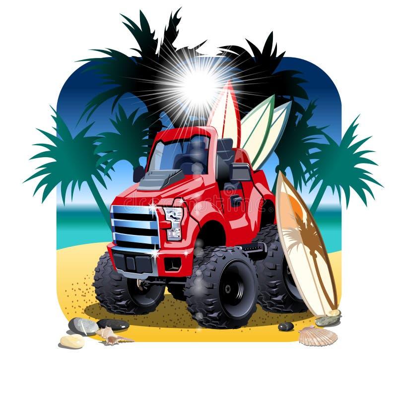 Carro dos desenhos animados 4x4 do vetor na praia isolada ilustração royalty free