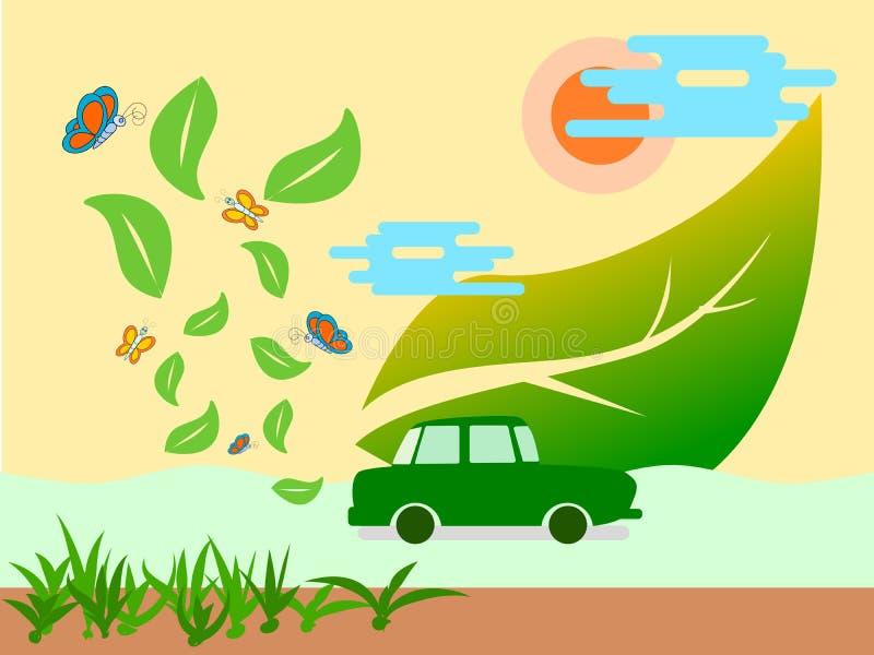 Carro e ar puro da energia do verde de Eco ilustração royalty free