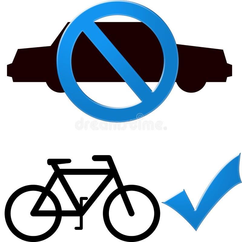 Carro e bicicleta ilustração royalty free
