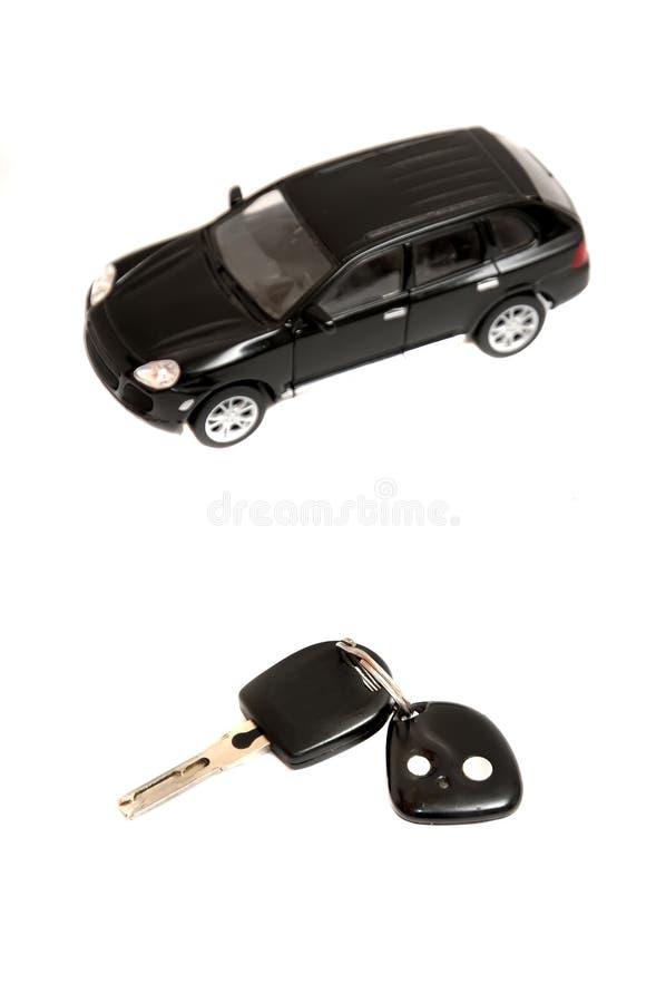 Carro e chave foto de stock