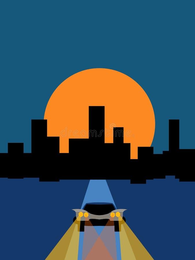 Carro e cidade da noite ilustração stock
