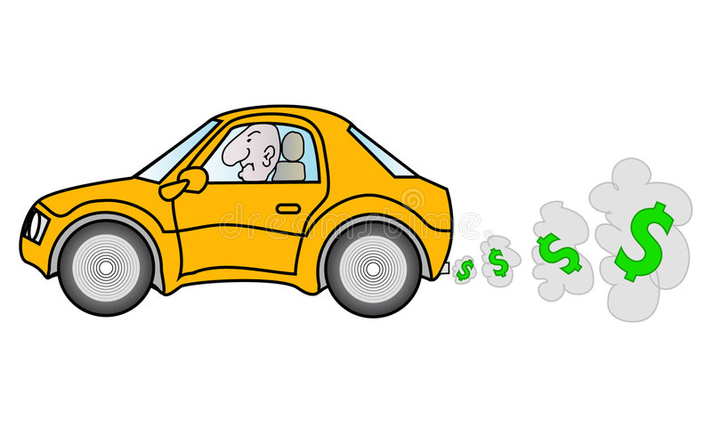 Carro e gás elevado ilustração do vetor