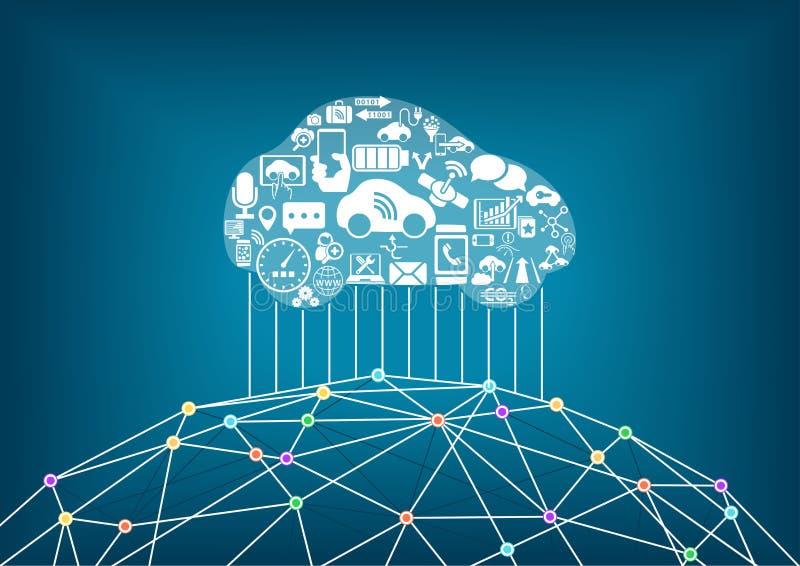 Carro e Internet conectados do conceito das coisas ilustração stock