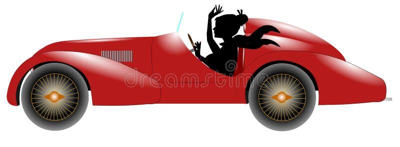 Carro e mulher vermelhos de esportes na silhueta fotografia de stock royalty free