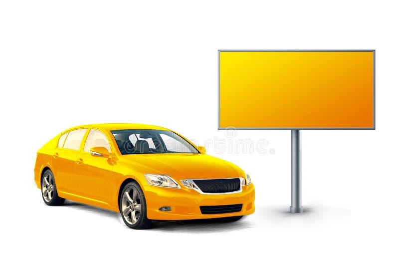 Carro e quadro de avisos amarelos ilustração do vetor