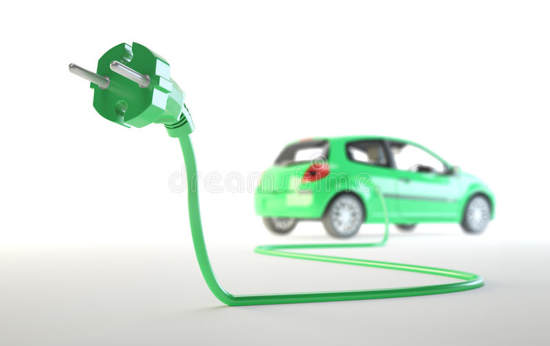 Carro elétrico com um plugue ilustração royalty free