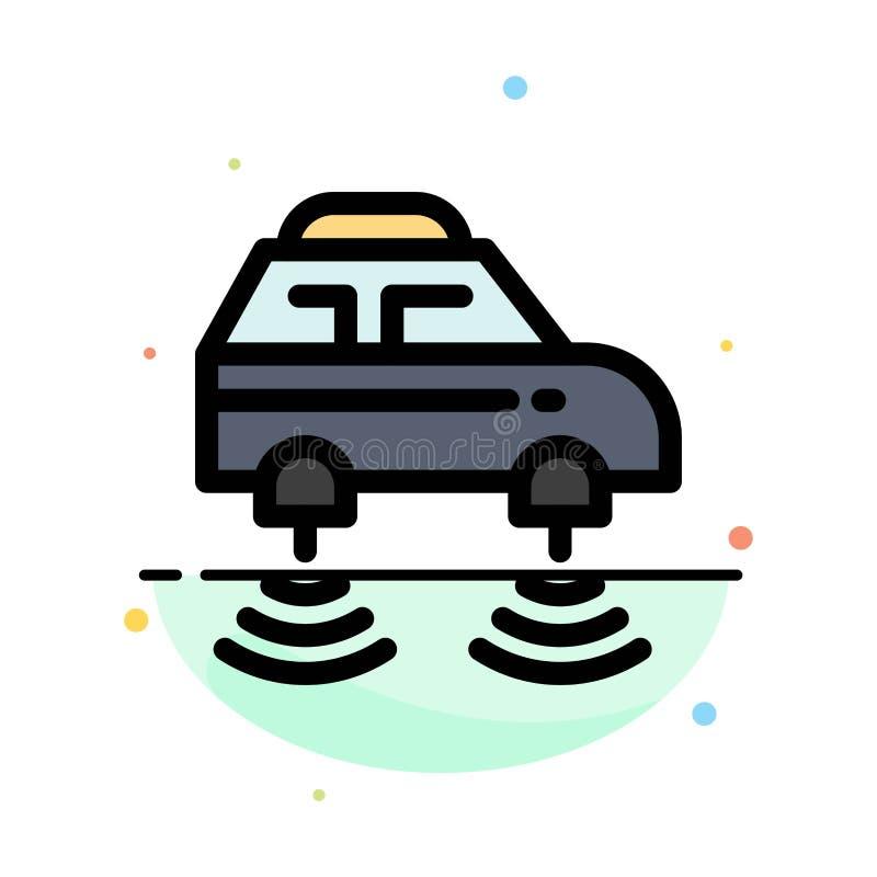 Carro, elétrico, rede, Smart, molde liso do ícone da cor do sumário do wifi ilustração do vetor