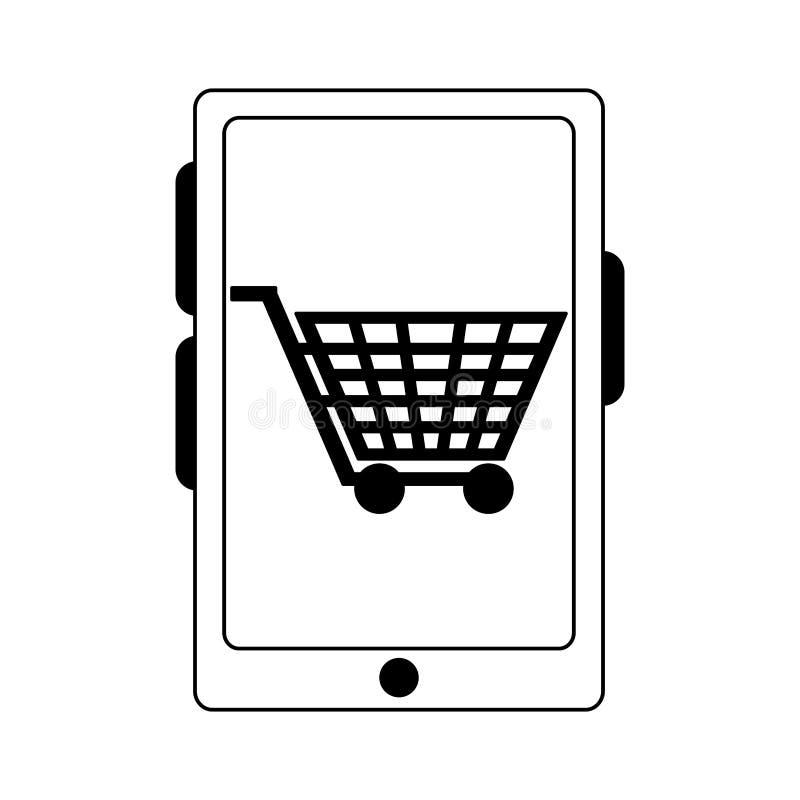 Carro em linha de compra na tela do smartphone em preto e branco ilustração royalty free