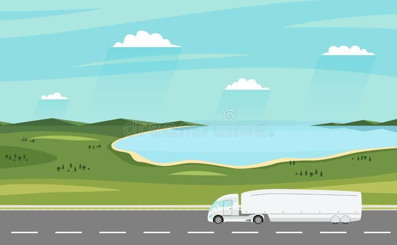 Carro en el camino Paisaje rural del verano con el lago Camión de remolque eléctrico moderno pesado libre illustration