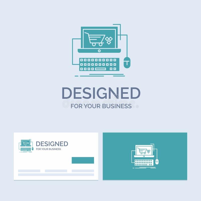 Carro, en línea, tienda, tienda, negocio Logo Glyph Icon Symbol del juego para su negocio Tarjetas de visita de la turquesa con e libre illustration