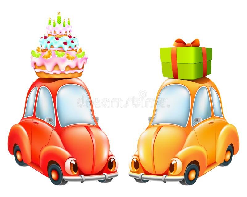 Carro engraçado com um bolo de aniversário e um presente ilustração royalty free