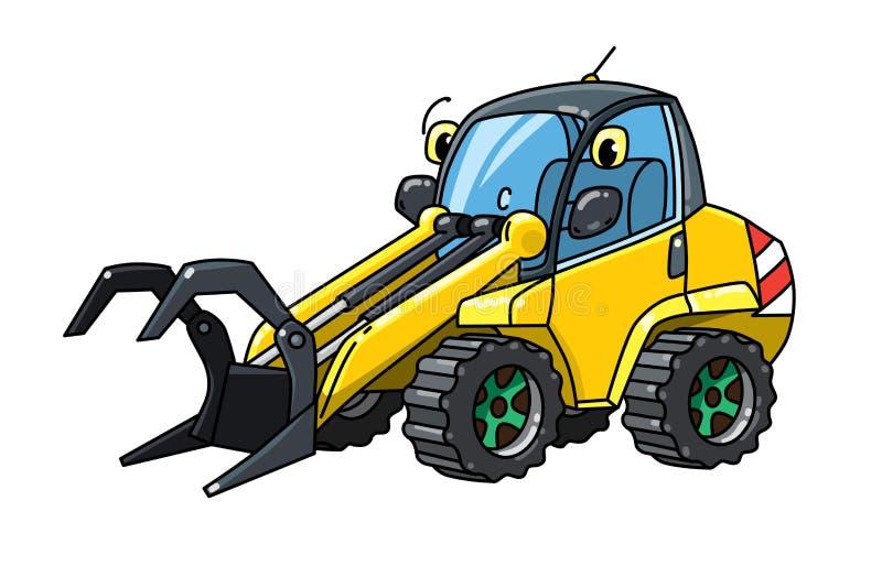 Carro engraçado do alimentador do log com maquinaria da silvicultura dos olhos ilustração stock