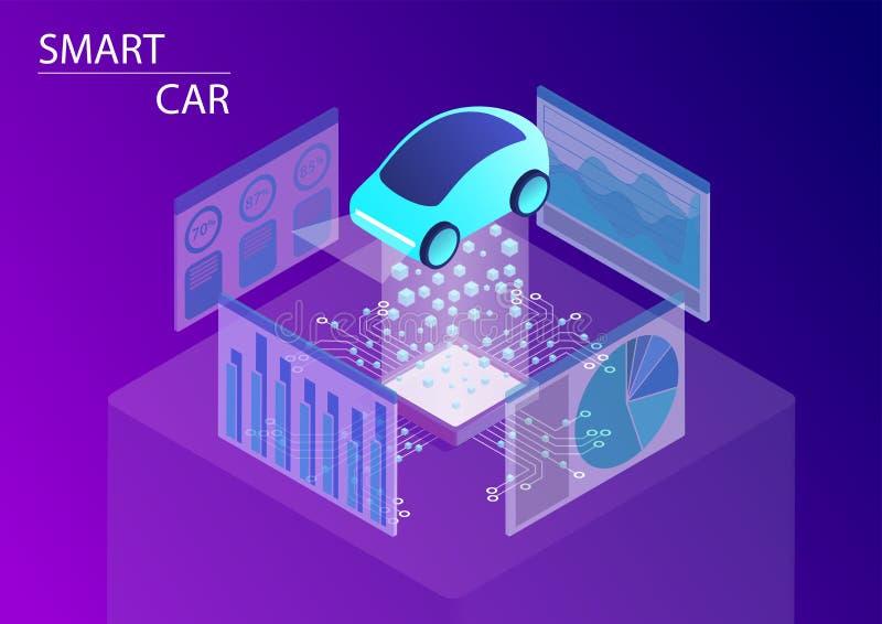 Carro esperto e conceito de condução autônomo ilustração isométrica do vetor 3d ilustração stock