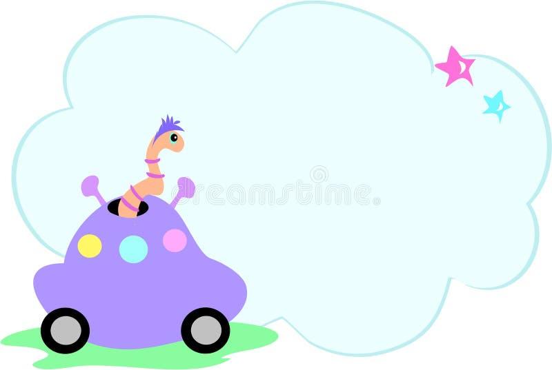 Carro estrangeiro com bolha da serpente e da mensagem ilustração royalty free