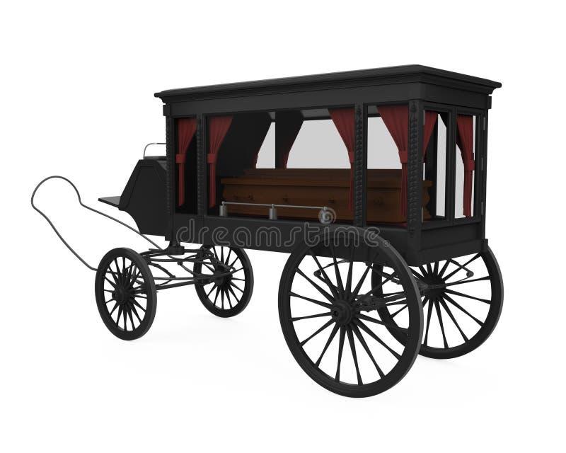 Carro fúnebre puxado a cavalo isolado ilustração royalty free