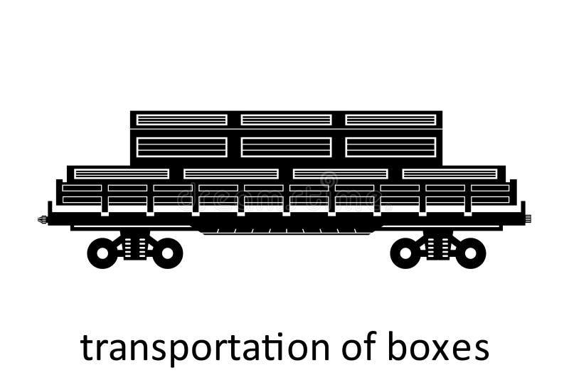 carro ferroviario del transporte de las cajas con nombre El cargo fleta transporte de expedición La vista lateral del ejemplo del libre illustration
