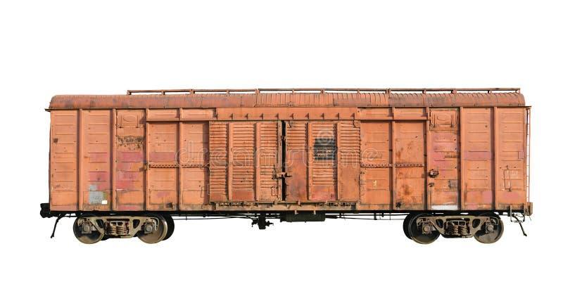 Carro ferroviario viejo del cargo fotografía de archivo