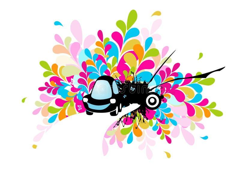 Carro funky preto no fundo azul. ilustração royalty free