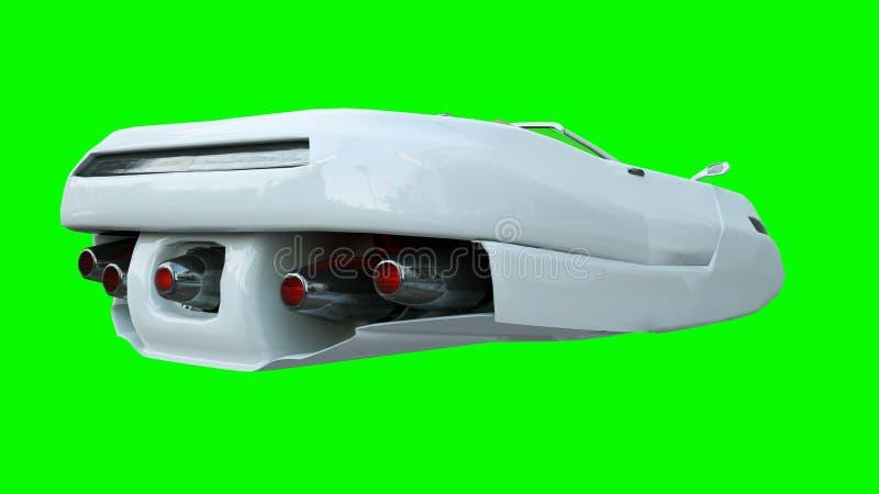Carro futurista do voo com mulher Transporte do futuro isolate rendição 3d ilustração royalty free