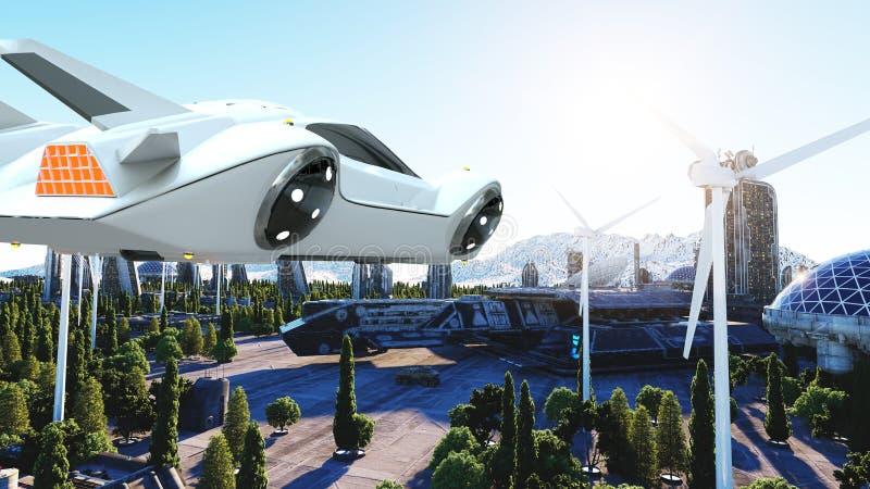 Carro futurista que voa sobre a cidade, cidade Transporte do futuro Silhueta do homem de negócio Cowering rendição 3d ilustração royalty free