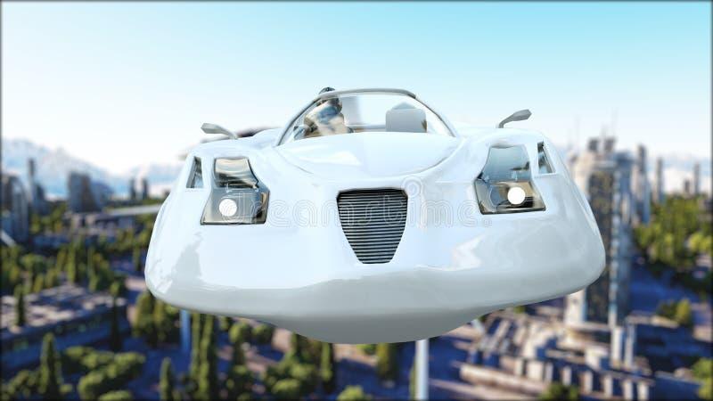 Carro futurista que voa sobre a cidade, cidade Transporte do futuro Silhueta do homem de negócio Cowering rendição 3d ilustração stock