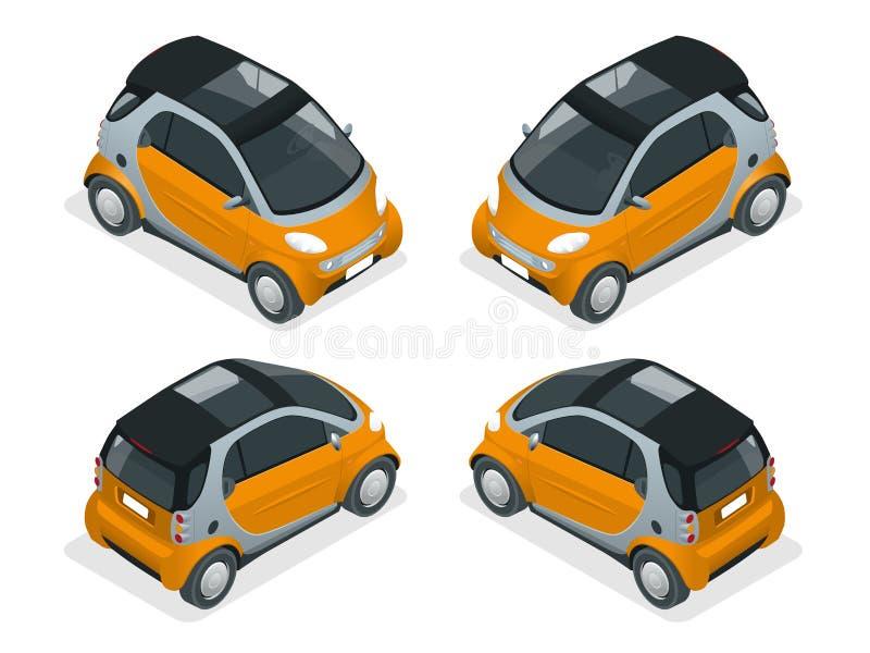 Carro híbrido isométrico Carro da cidade isolado no fundo branco Carro esperto compacto do vetor Veículos isolados ilustração do vetor