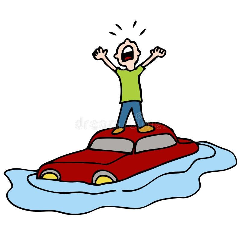 Carro inundado ilustração do vetor