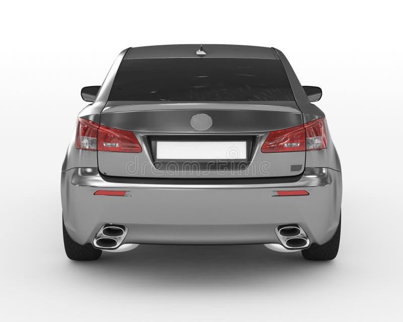 Carro isolado no branco - metal, vidro matizado - vista traseira foto de stock royalty free