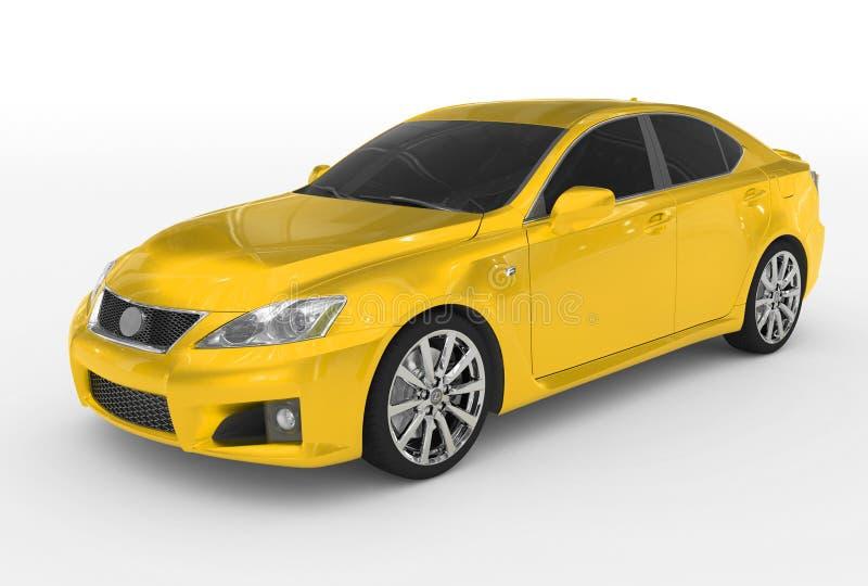 Carro isolado no branco - pintura amarela, vidro matizado - dianteiro-esquerdo ilustração stock