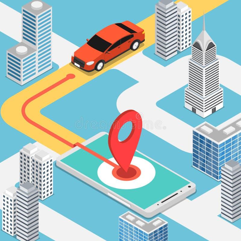 Carro isométrico que move-se no pinpoint na aplicação móvel do mapa ilustração royalty free