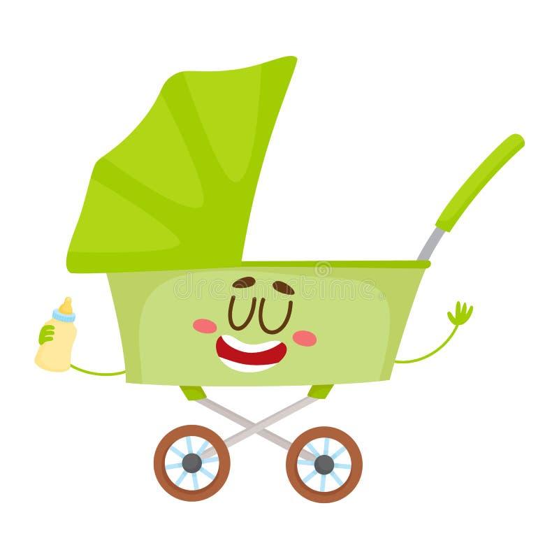 Carro lindo y divertido del bebé, cochecito, cochecillo, carácter del carro ilustración del vector