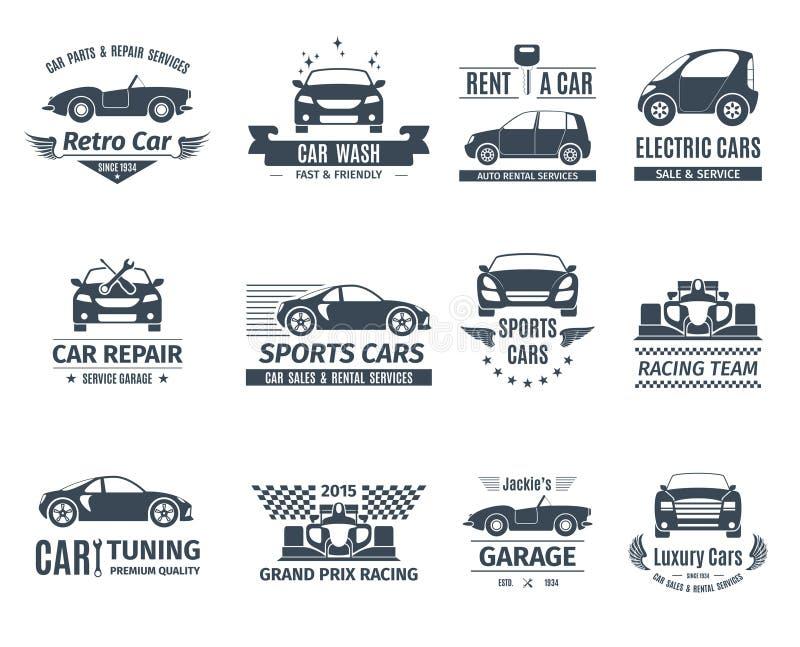 Carro Logo Set Black ilustração royalty free