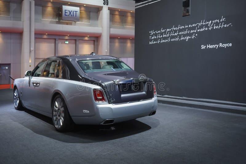 Carro luxuoso de Rolls Royce New Phantom na exposição automóvel 2019 fotografia de stock royalty free