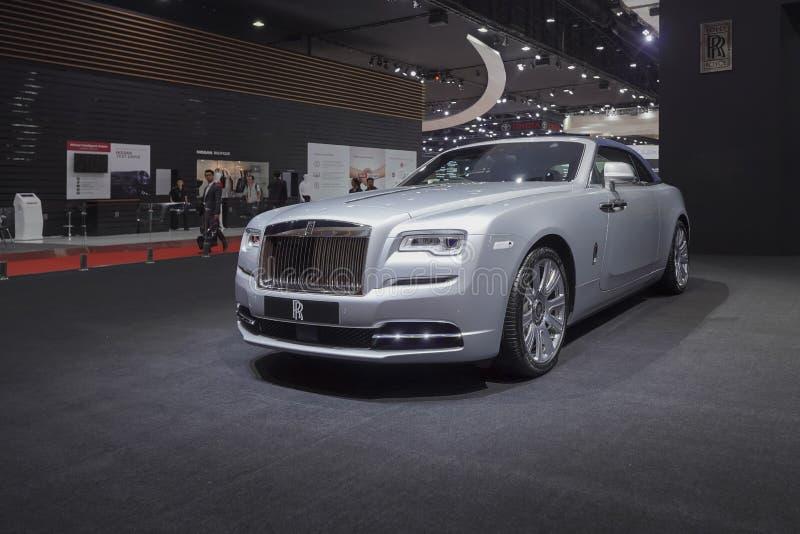 Carro luxuoso de Rolls Royce New Phantom na exposição automóvel 2019 imagem de stock royalty free