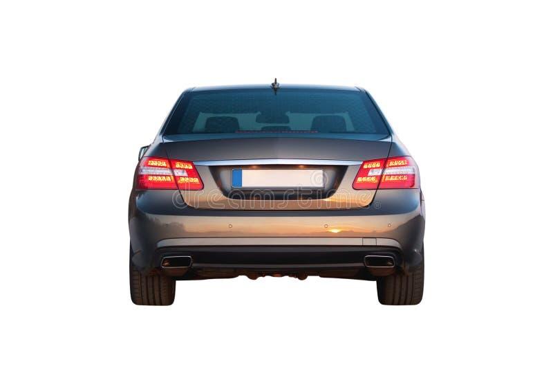 Carro luxuoso isolado sobre a opinião da parte traseira do branco fotos de stock royalty free