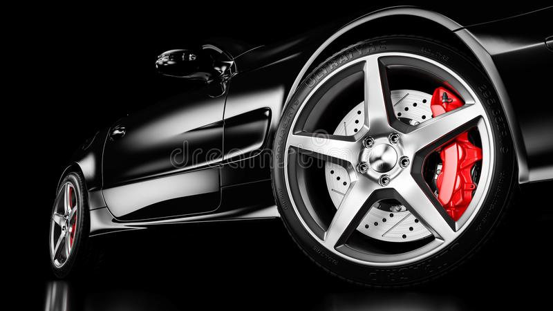 Carro luxuoso preto na iluminação do estúdio 3d ilustração royalty free