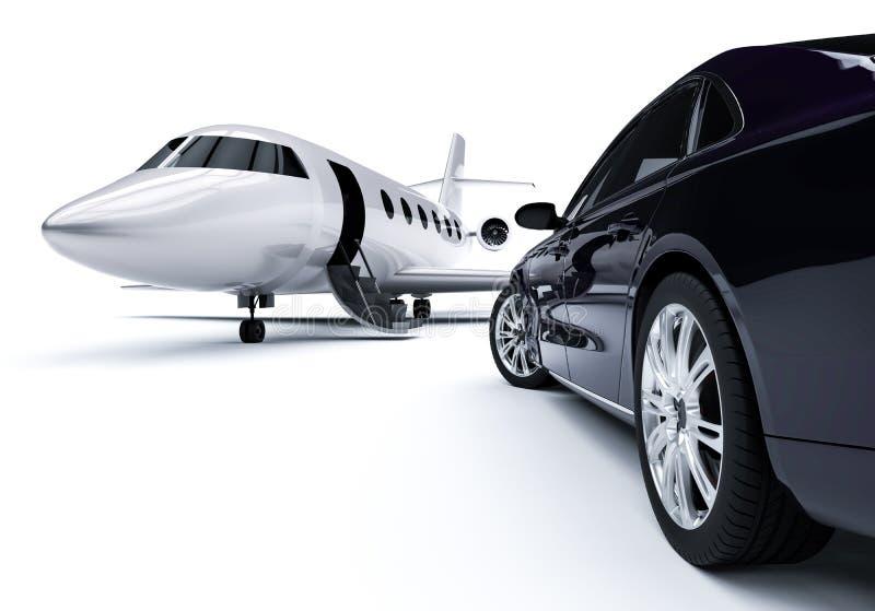 Carro luxuoso um avião ilustração stock