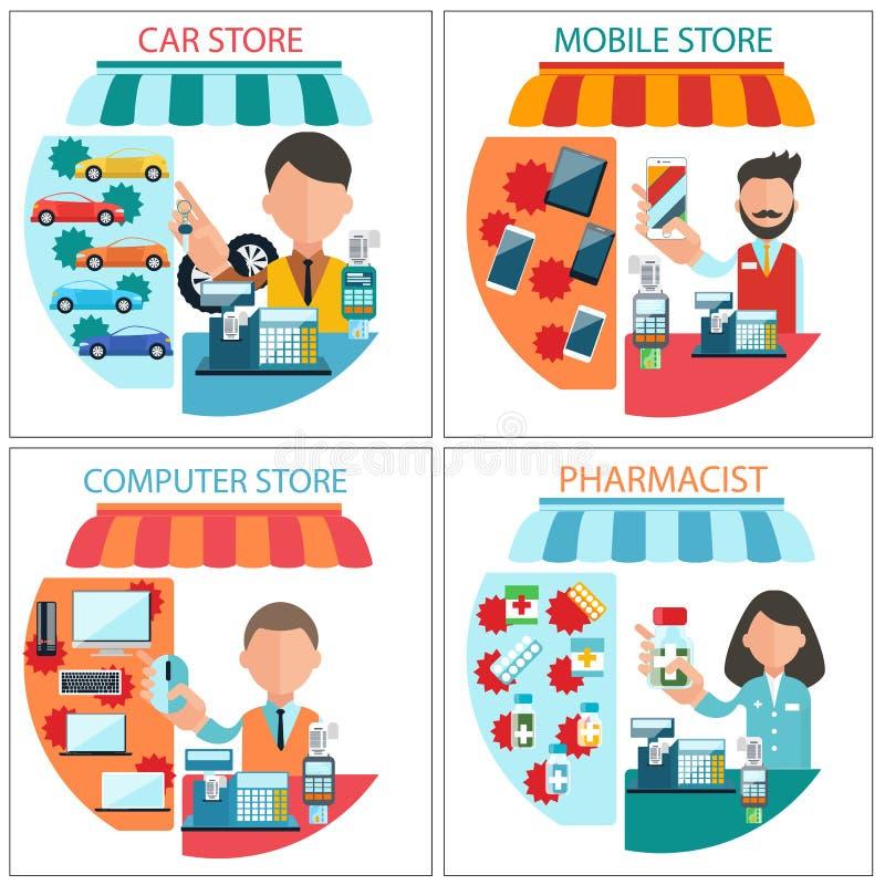 Carro, móbil, farmacêutico e loja de informática ilustração stock