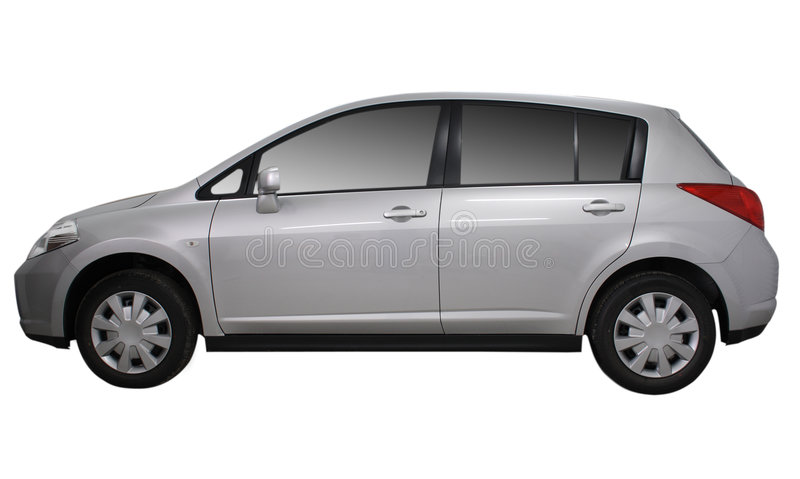Carro metálico cinzento isolado no branco fotos de stock royalty free