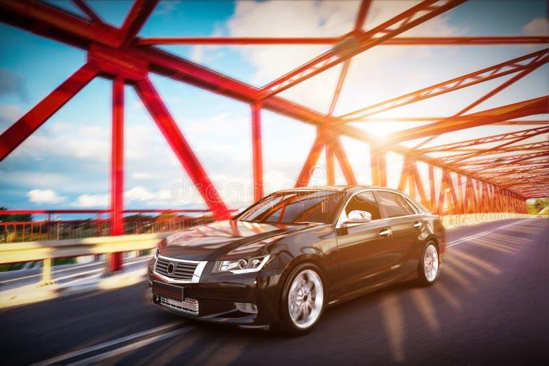 Carro metálico preto moderno do sedan na estrada da ponte Desing genérico, brandless ilustração royalty free