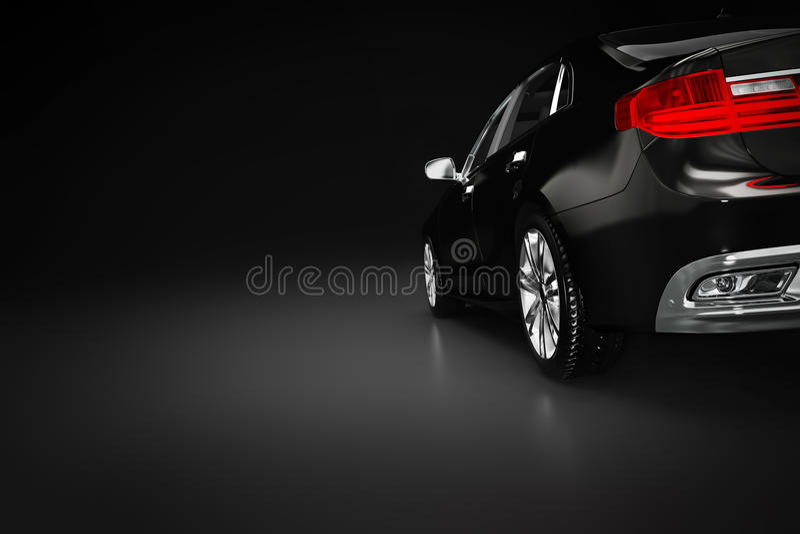 Carro metálico preto moderno do sedan no projetor Desing genérico, brandless foto de stock