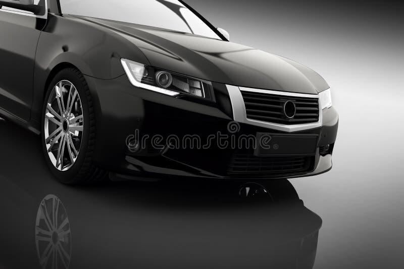 Carro metálico preto moderno do sedan no projetor Desing genérico, brandless fotografia de stock