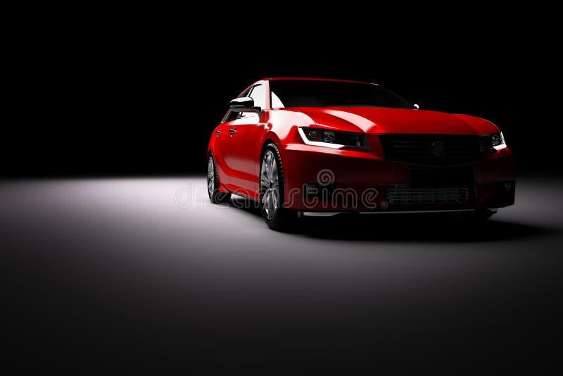 Carro metálico vermelho novo do sedan no projetor Desing moderno, brandless fotos de stock
