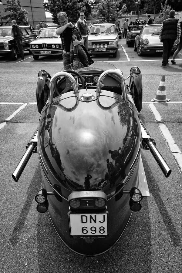 Carro Morgan, vista traseira, três rodas V-gêmeos fotografia de stock