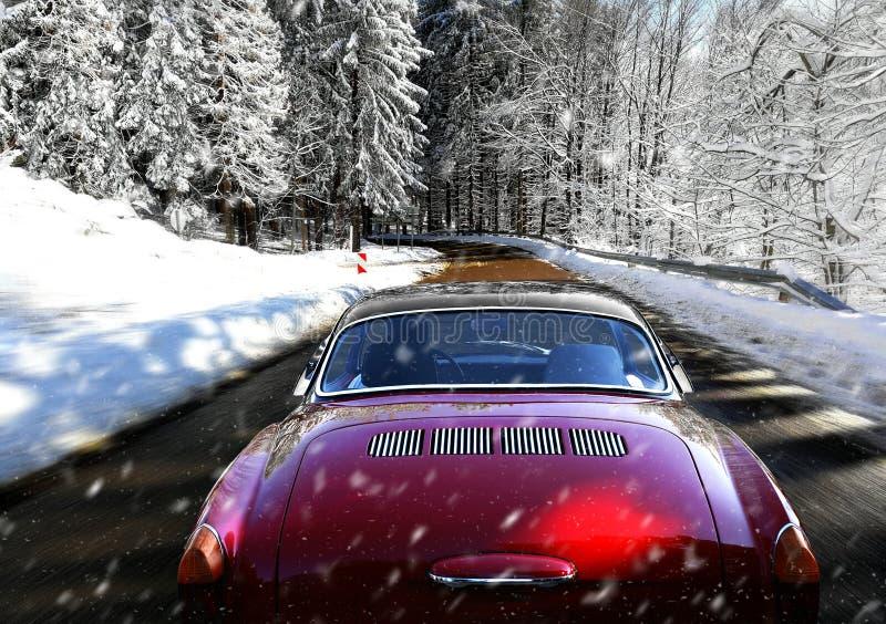 Carro movente na estrada nevado do inverno foto de stock royalty free